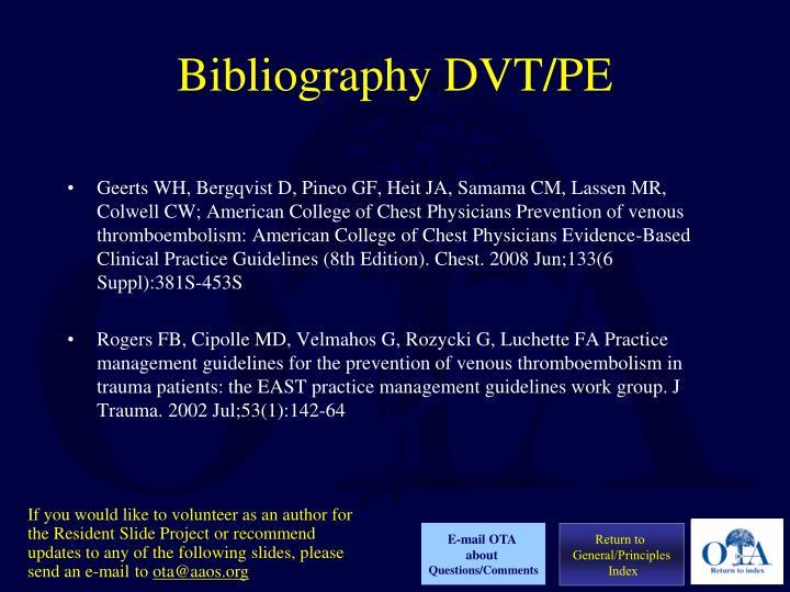 Bibliography DVT/PE