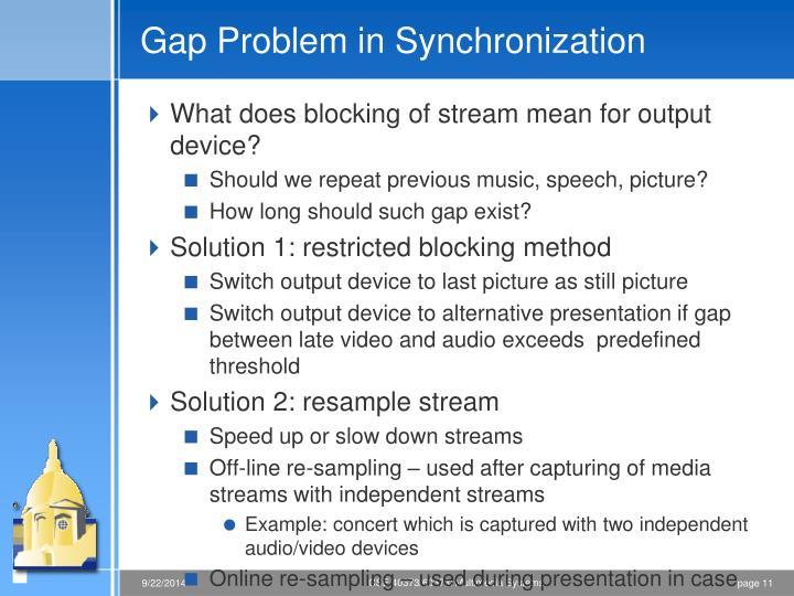 Gap Problem in Synchronization