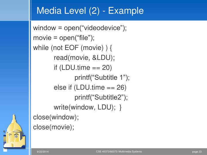 Media Level (2) - Example