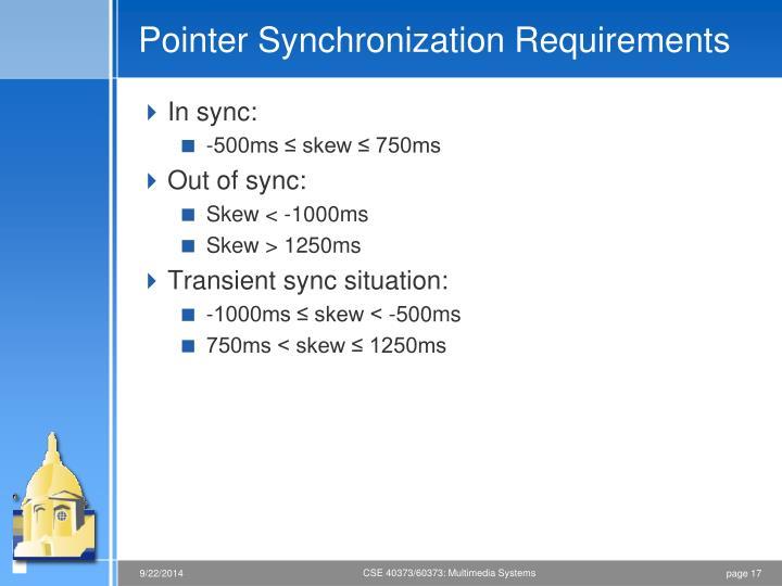 Pointer Synchronization Requirements