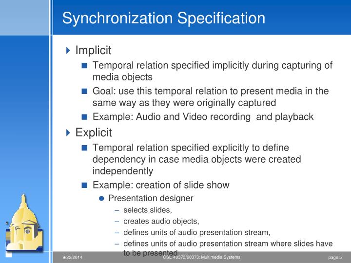 Synchronization Specification