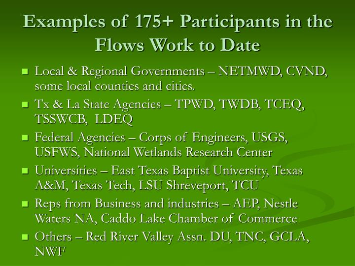 Examples of 175+ Participants in the Flows Work to Date