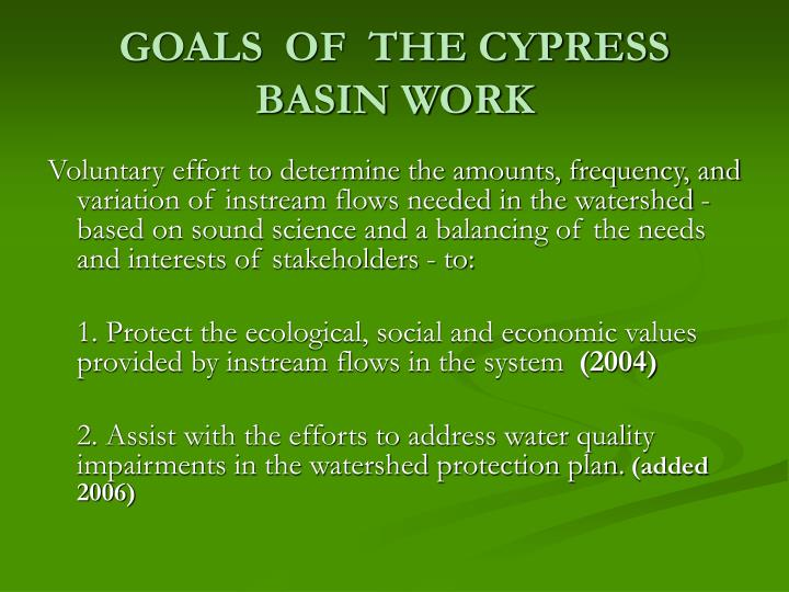 GOALS  OF  THE CYPRESS BASIN WORK