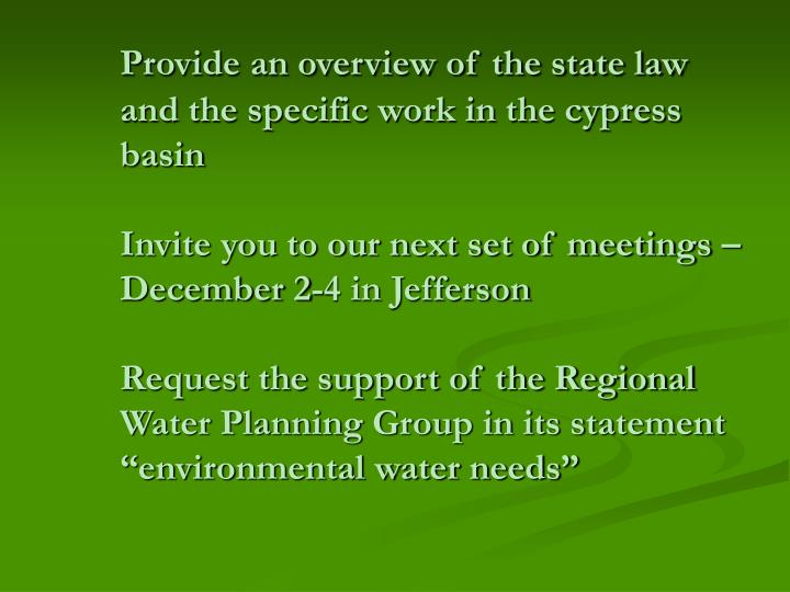 Provide an overview of the state law and the specific work in the cypress basin