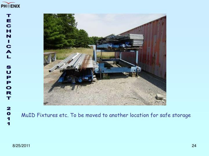 MuID Fixtures etc. To be moved to another location for safe storage