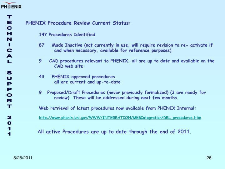 PHENIX Procedure Review Current Status: