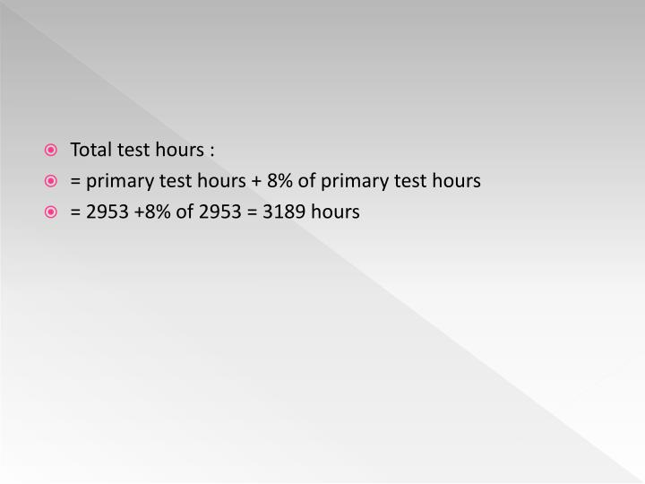 Total test hours :