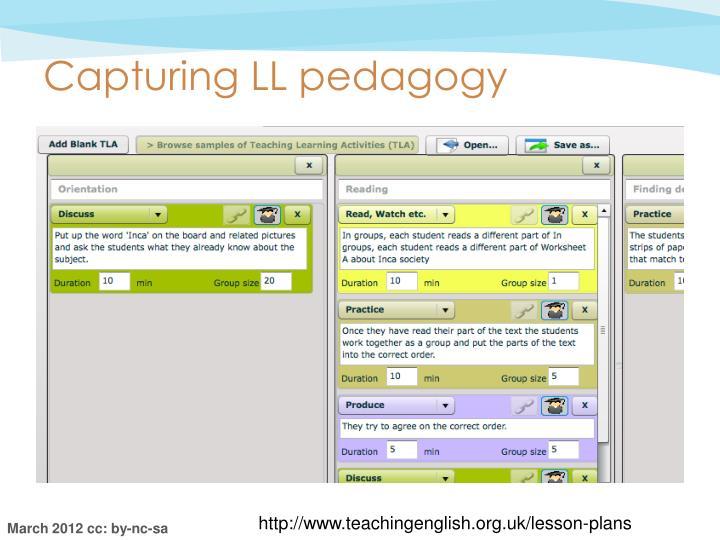 Capturing LL pedagogy