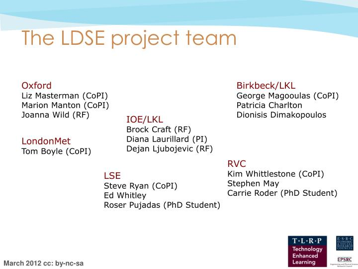 The LDSE project team