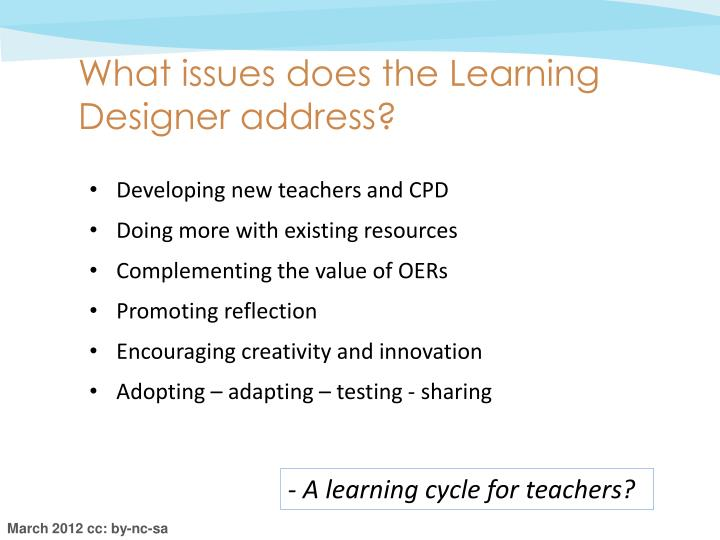 What issues does the Learning Designer address?