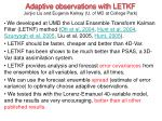 adaptive observations with letkf junjie liu and eugenia kalnay u of md at college park
