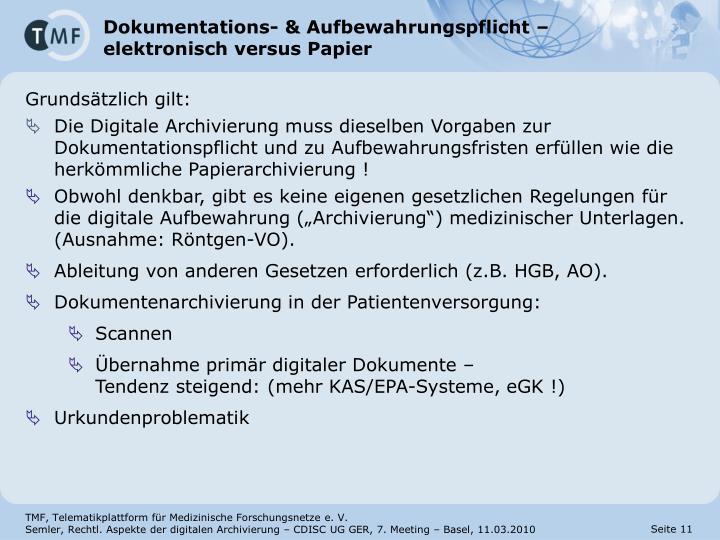 Dokumentations- & Aufbewahrungspflicht –