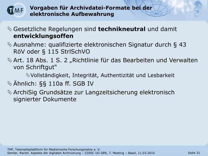 Vorgaben für Archivdatei-Formate bei der elektronische Aufbewahrung