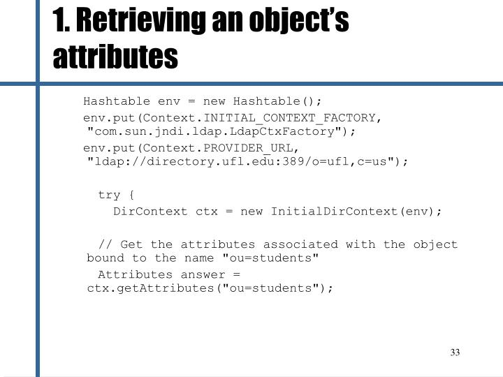1. Retrieving an object's attributes