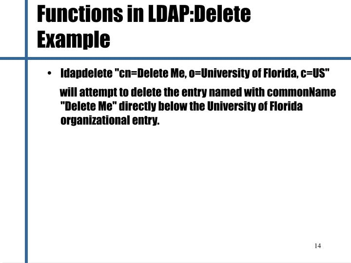 Functions in LDAP:Delete Example
