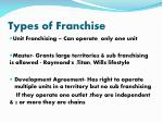 types of franchise