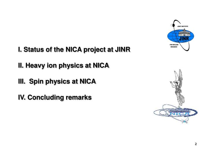 I. Status of the NICA project at JINR