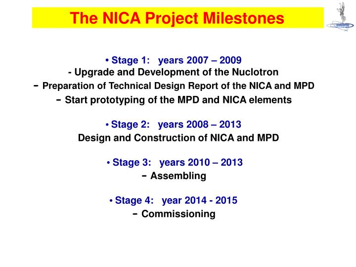 The NICA Project Milestones
