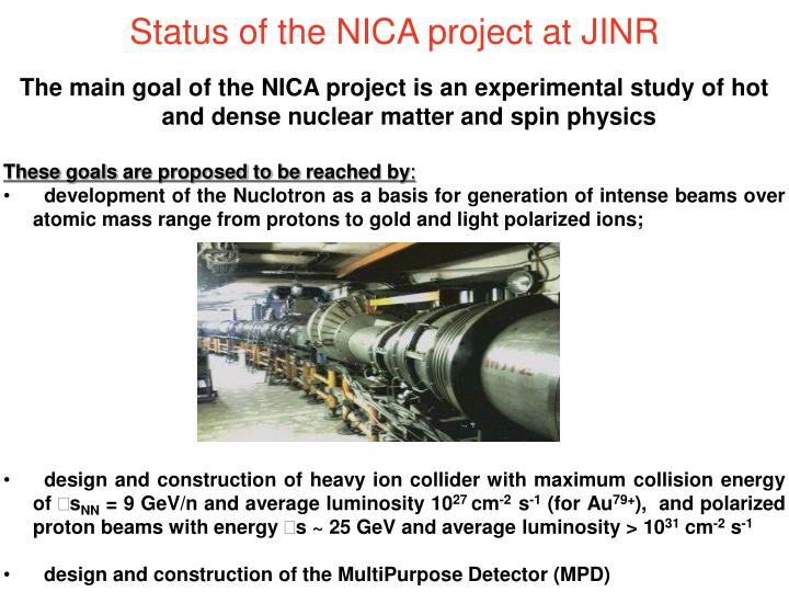 Status of the NICA project at JINR