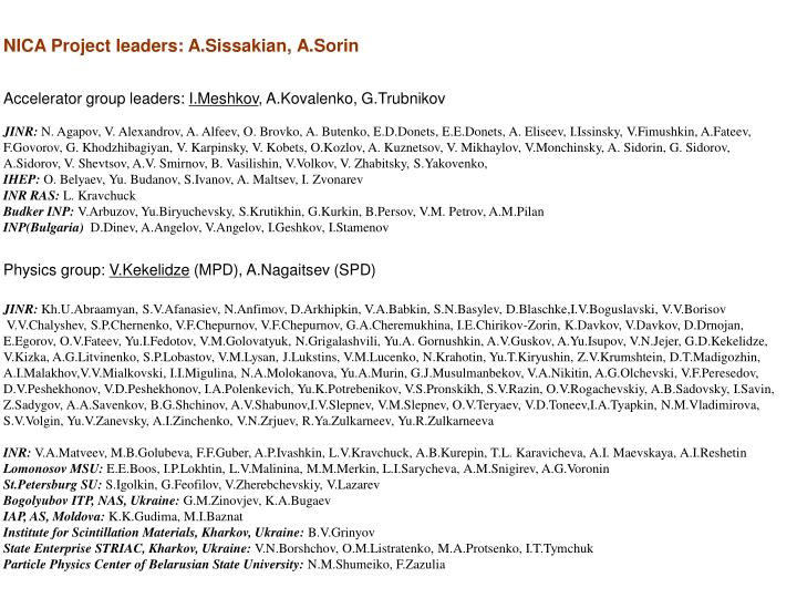 NICA Project leaders: A.Sissakian, A.Sorin