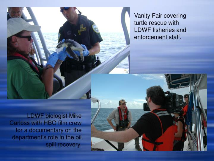 Vanity Fair covering turtle rescue with LDWF fisheries and enforcement staff.