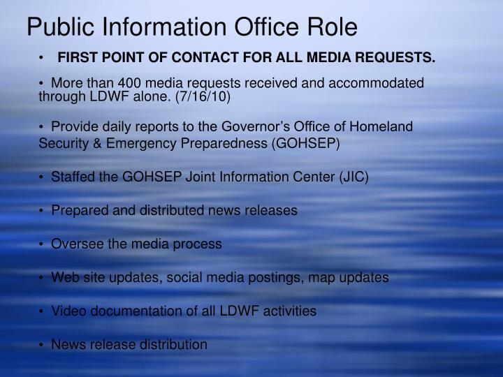 Public Information Office Role