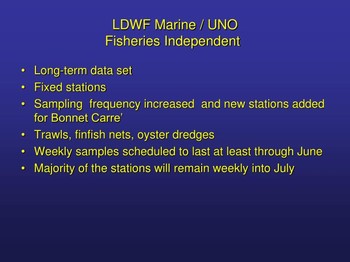 Ldwf marine uno fisheries independent