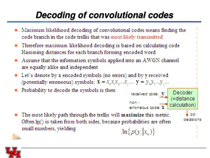 Decoding of convolutional codes