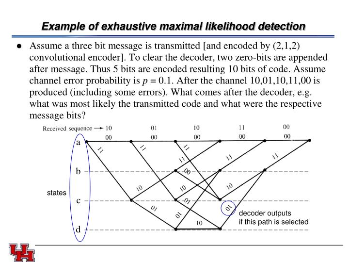 Example of exhaustive maximal likelihood detection