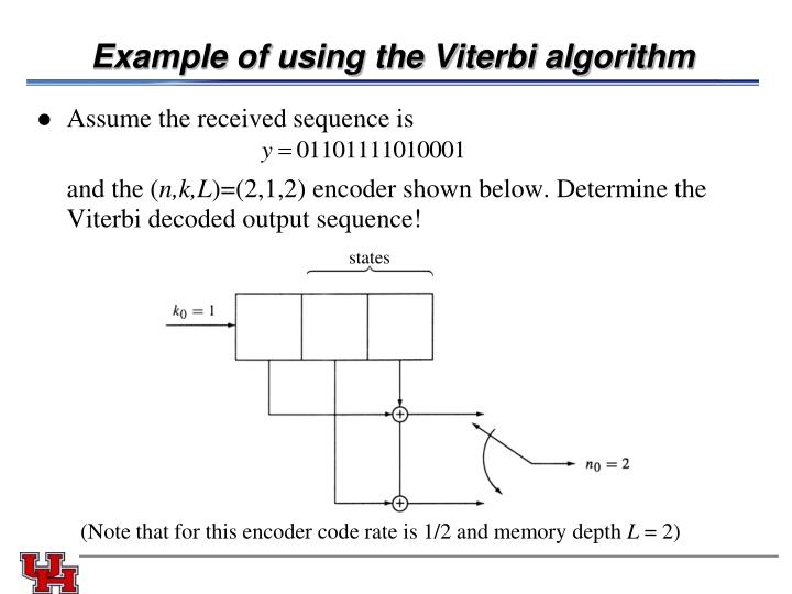 Example of using the Viterbi algorithm