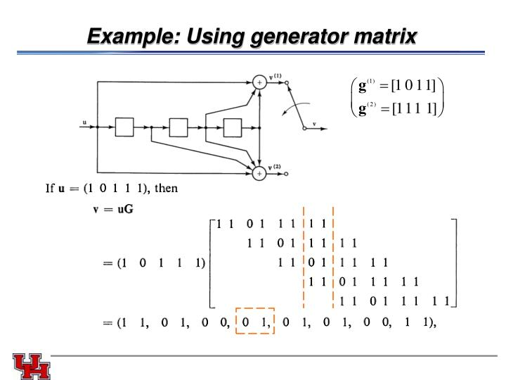 Example: Using generator matrix