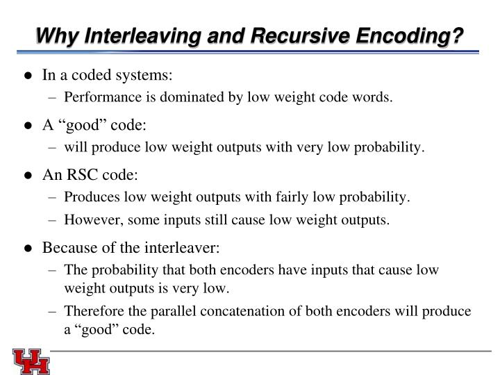 Why Interleaving and Recursive Encoding?