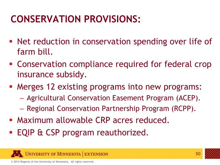 Conservation provisions:
