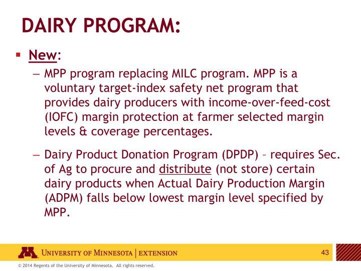 Dairy Program: