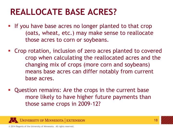 Reallocate base acres?