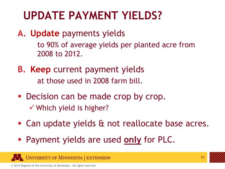 Update payment yields?