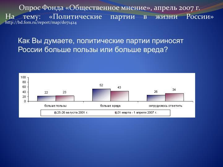 Как Вы думаете, политические партии приносят России больше пользы или больше вреда?