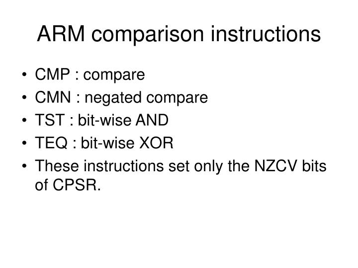 ARM comparison instructions