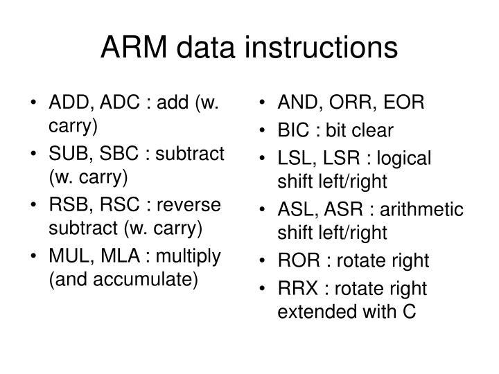 ADD, ADC : add (w. carry)