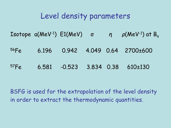 Level density parameters