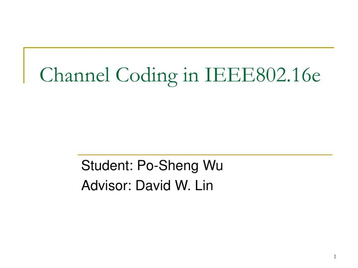 Channel coding in ieee802 16e