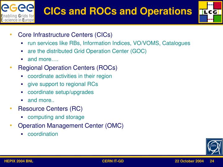 CICs and ROCs and Operations