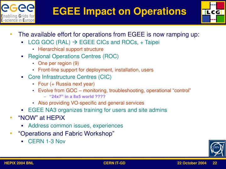 EGEE Impact on Operations