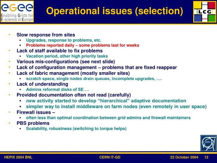 Operational issues (selection)