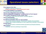 operational issues selection