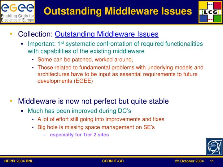 Outstanding Middleware Issues