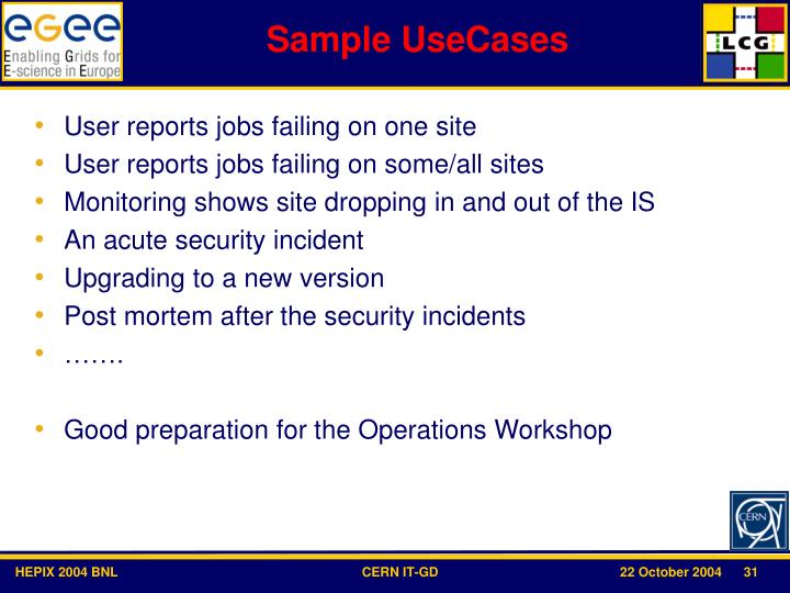 Sample UseCases