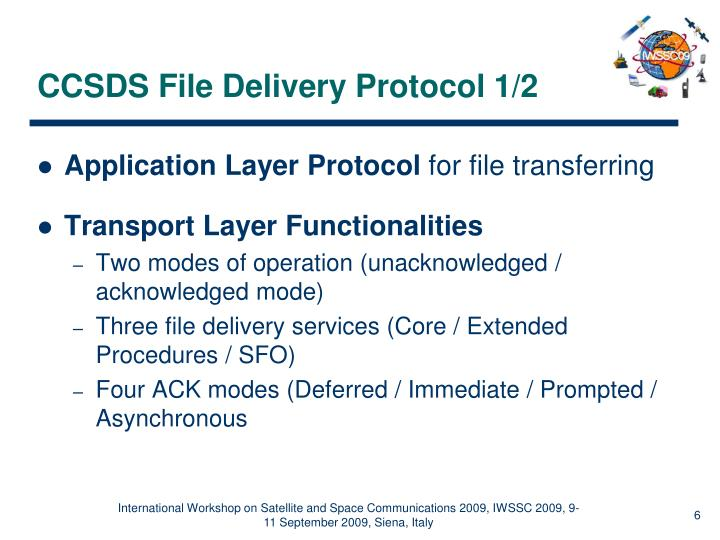 CCSDS File Delivery Protocol 1/2