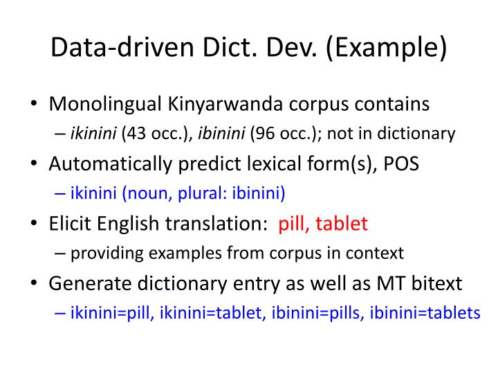 Data-driven Dict. Dev. (Example)