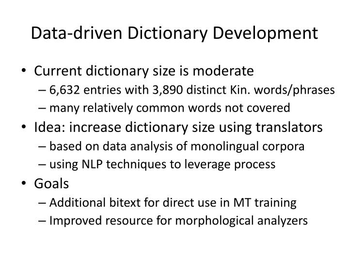 Data-driven Dictionary Development